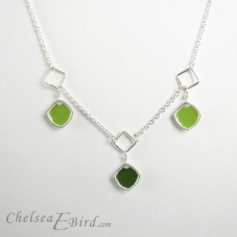 Chelsea Bird Designs Chroma 3 Piece Necklace Green