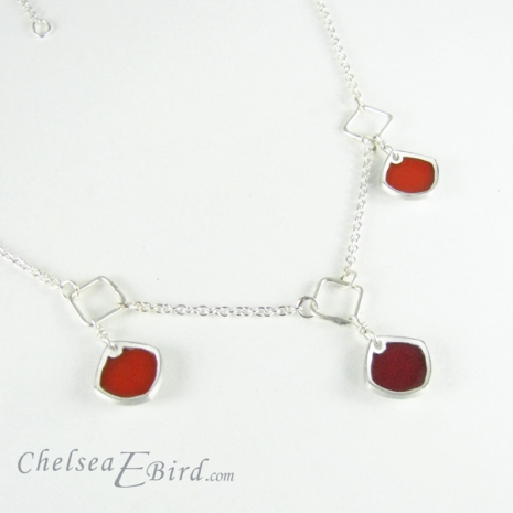 Chelsea Bird Designs Chroma 3 Piece Necklace Red/Orange