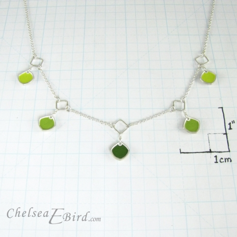 Chelsea Bird Designs Chroma 5 Piece Green Necklace Size