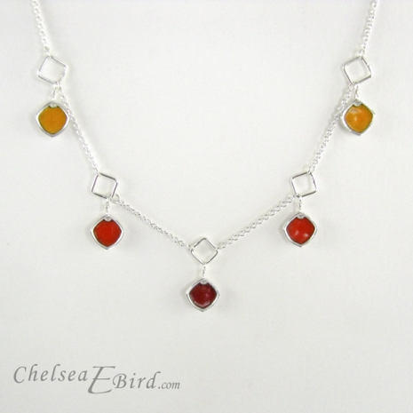 Chelsea Bird Designs Chroma 5 Piece Red/Orange Necklace