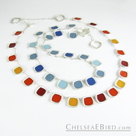 Chelsea Bird Jewelry Chroma Full Necklaces Teal and Orange