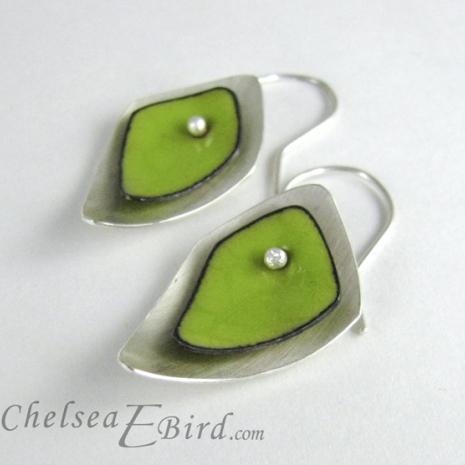 Chelsea Bird Designs Flame Lime Hook Earrings