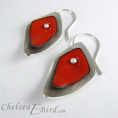 Chelsea Bird Designs Flame Orange Hook Earrings
