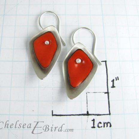 Chelsea Bird Designs Flame Orange Hook Earrings Size