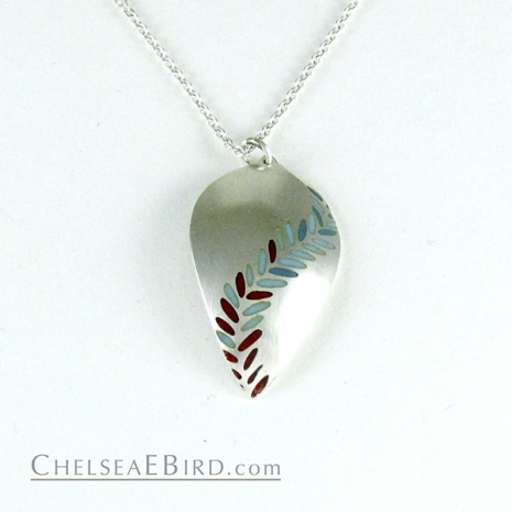 Chelsea Bird Jewelry Parra Large Enameled Pendant Aqua/Red