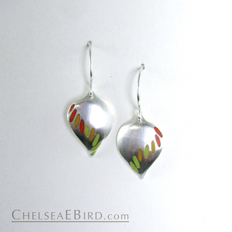 Chelsea Bird Jewelry Parra Medium Hook Earrings Orange and Lime