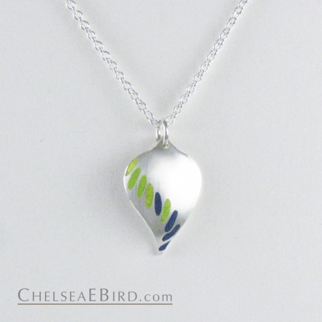Chelsea Bird Jewelry Parra Lime and Teal Enameled Pendant