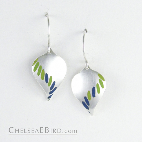 Chelsea Bird Jewelry Parra Medium Hook Earrings Lime and Teal