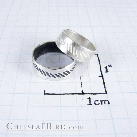 Chelsea Bird Parra Wave Band Ring Silver or Patina Size