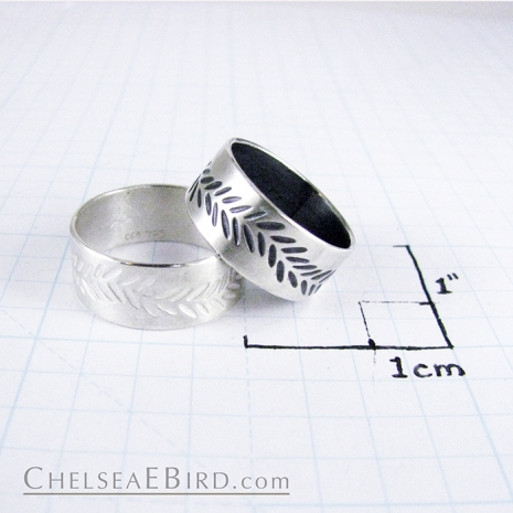 Chelsea Bird Parra Wide Braid Band Ring Silver or Patina Size