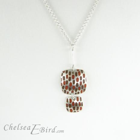Chelsea Bird Jewelry Pixel Double Square Orange Pendant