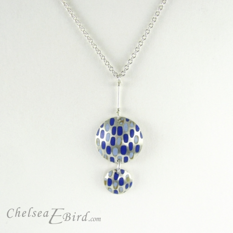 Chelsea Bird Jewelry Pixel Double Round Blue Pendant