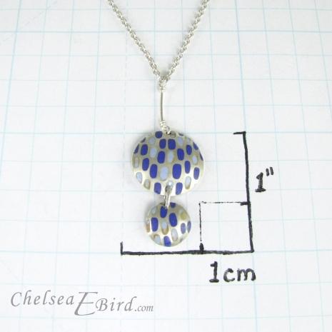 Chelsea Bird Jewelry Pixel Double Round Blue Pendant Size