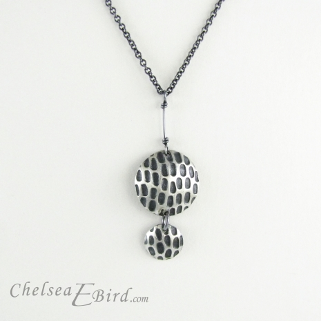 Chelsea Bird Jewelry Pixel Double Round Patina Pendant