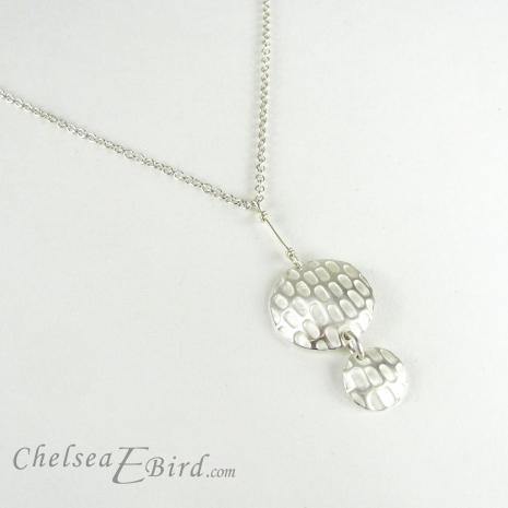 Chelsea Bird Jewelry Pixel Double Round Silver Pendant