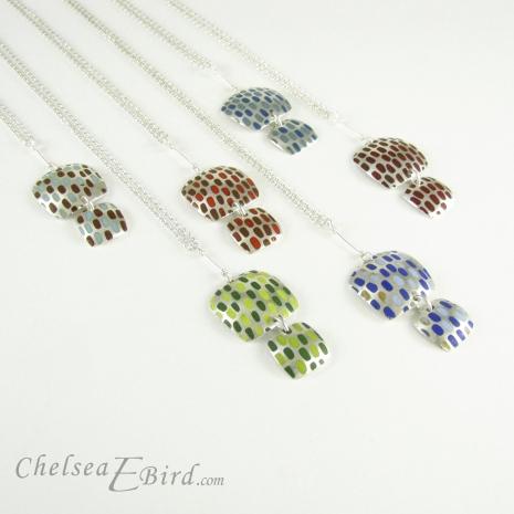 Chelsea Bird Jewelry Pixel Double Square Enameled Pendants