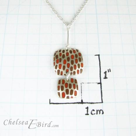 Chelsea Bird Jewelry Pixel Double Square Orange Pendant Size