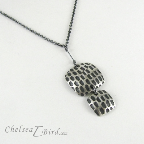Chelsea Bird Jewelry Pixel Double Square Patina Pendant