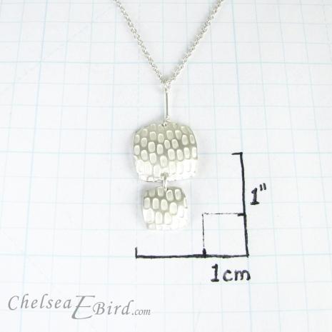 Chelsea Bird Jewelry Pixel Double Square Silver Pendant Size