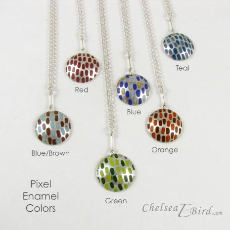 Chelsea Bird Designs Pixel Large Round Enameled Pendants Colors