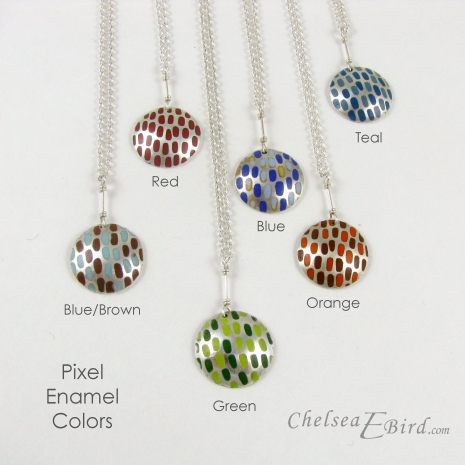 Chelsea Bird Designs Pixel Large Round Enameled Pendant Colors