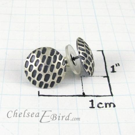 Chelsea Bird Designs Pixel Large Round Patina Stud Size