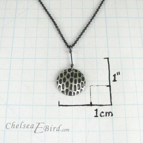Chelsea Bird Designs Pixel Large Round Patina Pendant Size
