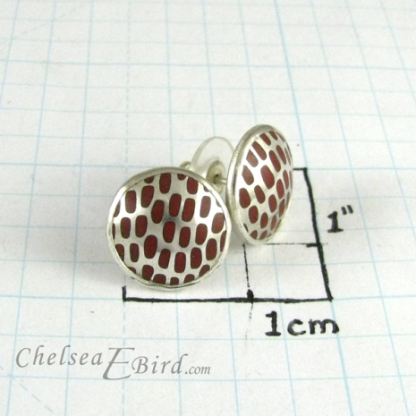 Chelsea Bird Designs Pixel Large Round Enameled Studs Size