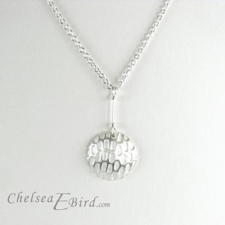 Chelsea Bird Designs Pixel Large Round Silver Pendant
