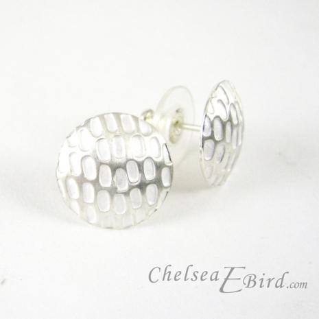 Chelsea Bird Designs Pixel Large Round Silver Stud Earrings
