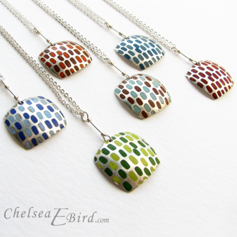 Chelsea Bird Designs Pixel Large Square Enameled Pendants