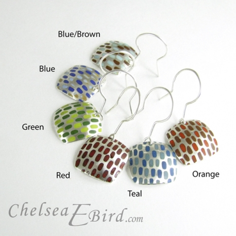Chelsea Bird Designs Pixel Large Square Enameled Hooks Colors