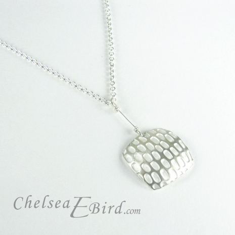 Chelsea Bird Designs Pixel Large Square Silver Pendant