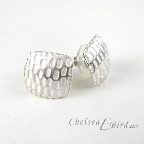 Chelsea Bird Designs Pixel Large Square Silver Stud Earrings