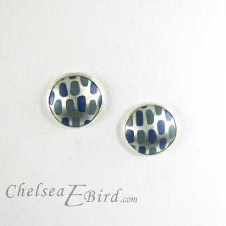 Chelsea Bird Designs Pixel Small Round Enameled Stud Earrings