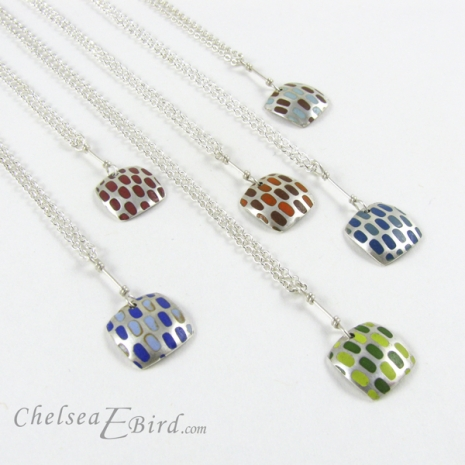 Chelsea Bird Designs Pixel Small Square Enameled Pendants