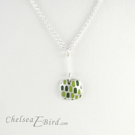 Chelsea Bird Designs Pixel Small Square Enameled Green Pendant