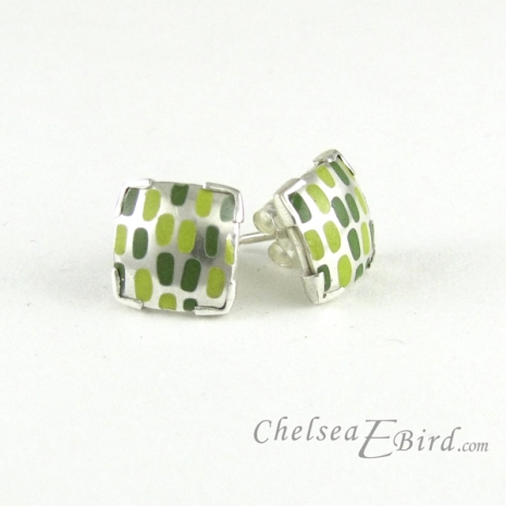 Chelsea Bird Designs Pixel Small Square Enameled Stud Earrings