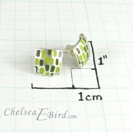Chelsea Bird Designs Pixel Small Square Enameled Studs Size