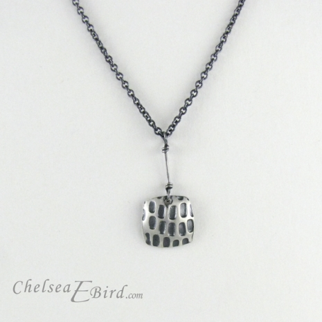 Chelsea Bird Designs Pixel Small Square Patina Pendant