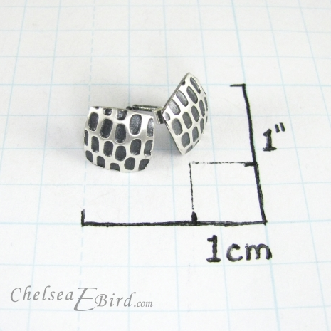 Chelsea Bird Designs Pixel Small Square Patina Studs Size