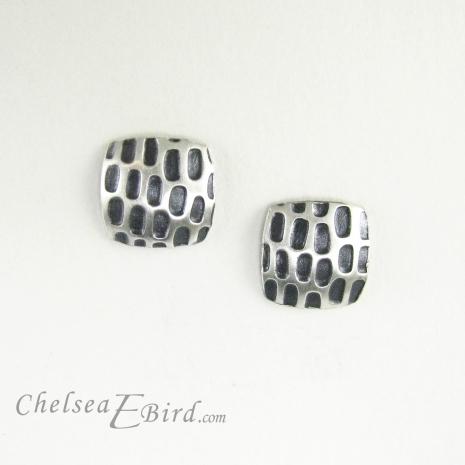 Chelsea Bird Designs Pixel Small Square Patina Stud Earrings