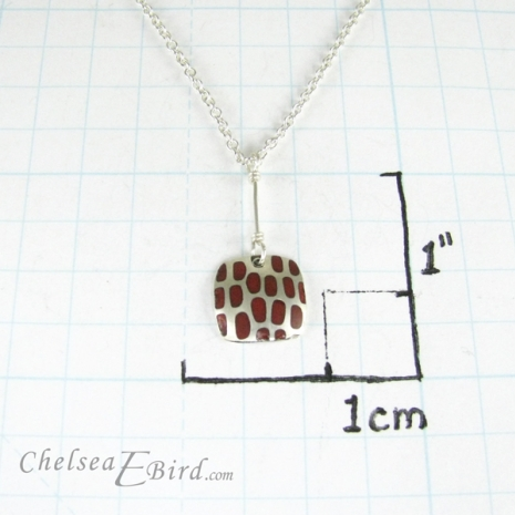 Chelsea Bird Designs Pixel Small Square Enameled Red Pendant Size