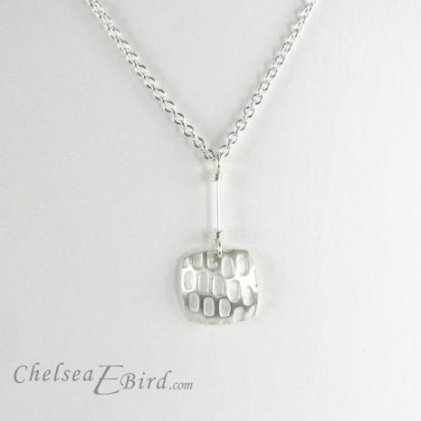 Chelsea Bird Designs Pixel Small Square Silver Pendant