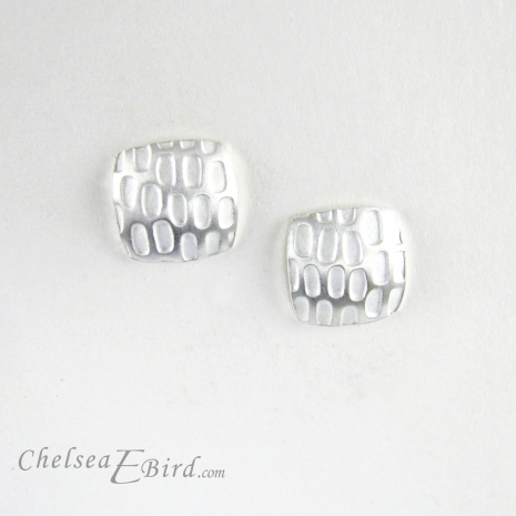 Chelsea Bird Designs Pixel Small Square Silver Stud Earrings