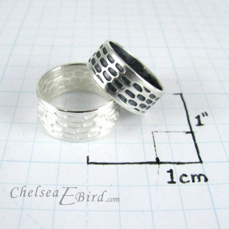 Chelsea Bird Designs Pixel Wide Band Rings Size