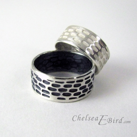 Chelsea Bird Designs Pixel Wide Band Rings