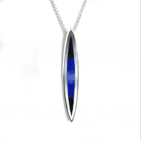 Salix Long Blue Center Fade Pendant by Chelsea E. Bird