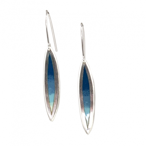 Salix Med. All Teal Fade Hook Earrings by Chelsea E. Bird
