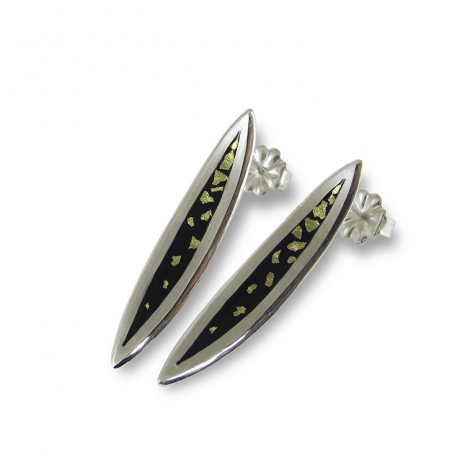 Salix Med. Black and Gold Studs by Chelsea E. Bird